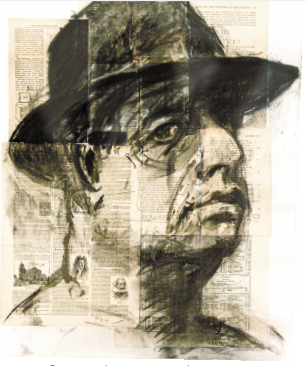 「Self-portrait(Testing the Library)」, charcoal on paper, 66X51cm, 1998
